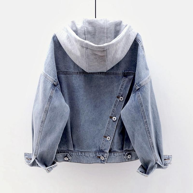 Мода Джинсовая куртка с капюшоном Новая Съемные Женщины пальто Short Верхняя одежда Multi-карман однобортный Женский джинсовой Повседневный Tops 201006