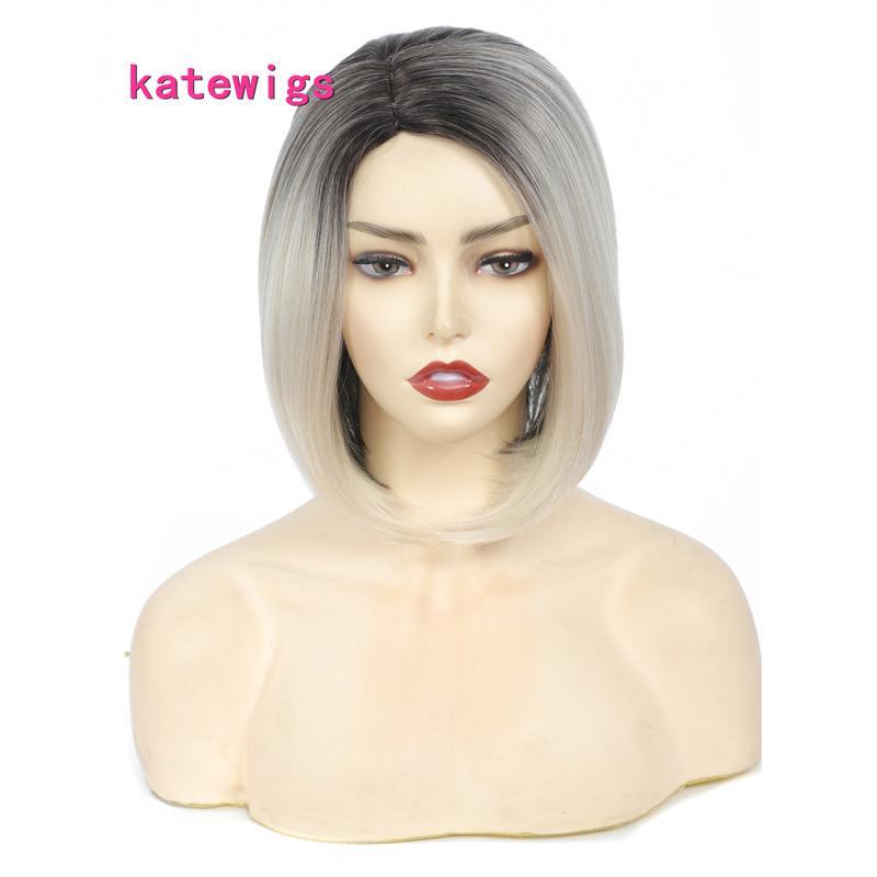 Parrucche bionde della bionda nera dei capelli lisci di listino nero corto Banco per le donne parrucca quotidiana o del partito