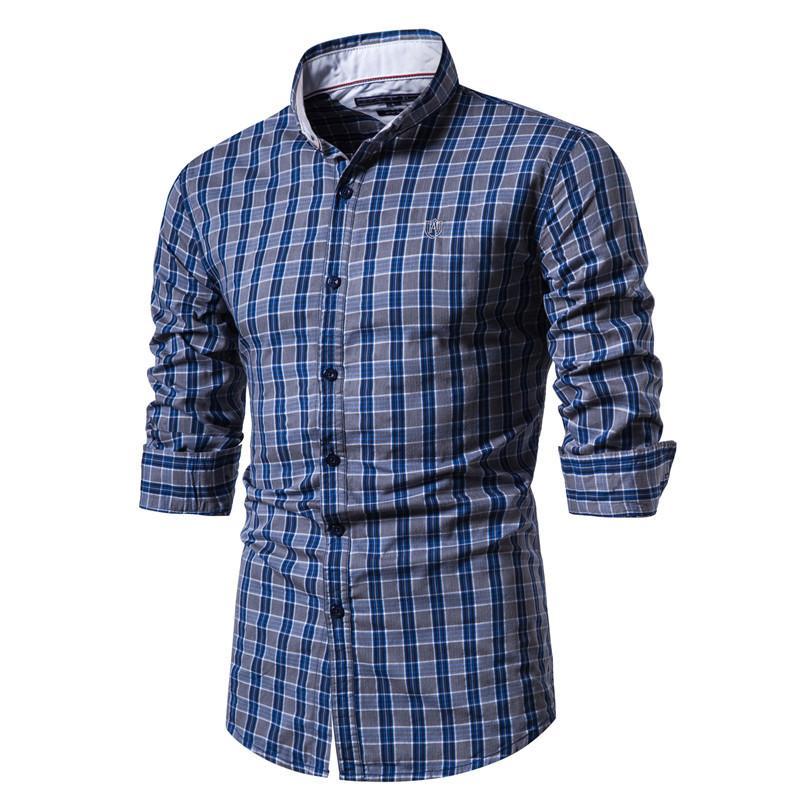 2020 New Spring 100% Cotton Plaid Shirt Men Casual Business Social Men Shirt Long Sleeve Top Quality Brand Mens Dress Shirts