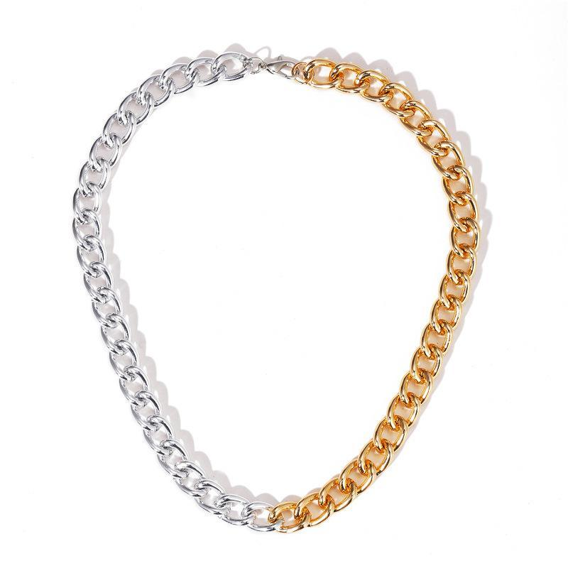 2020 Fashion Gold Silvery Color Asymmetric Chain Necklaces Mixed Thick Chain Link Choker Necklaces For The New Year Gift