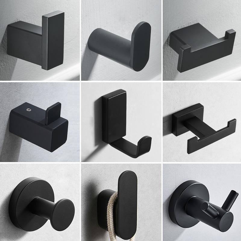 Negro 304 suspensión de acero inoxidable abrigo de toalla de toalla de gancho gancho de baño puerta de montaje en pared gancho trasero para gorra, abrigo, ropa Y200108