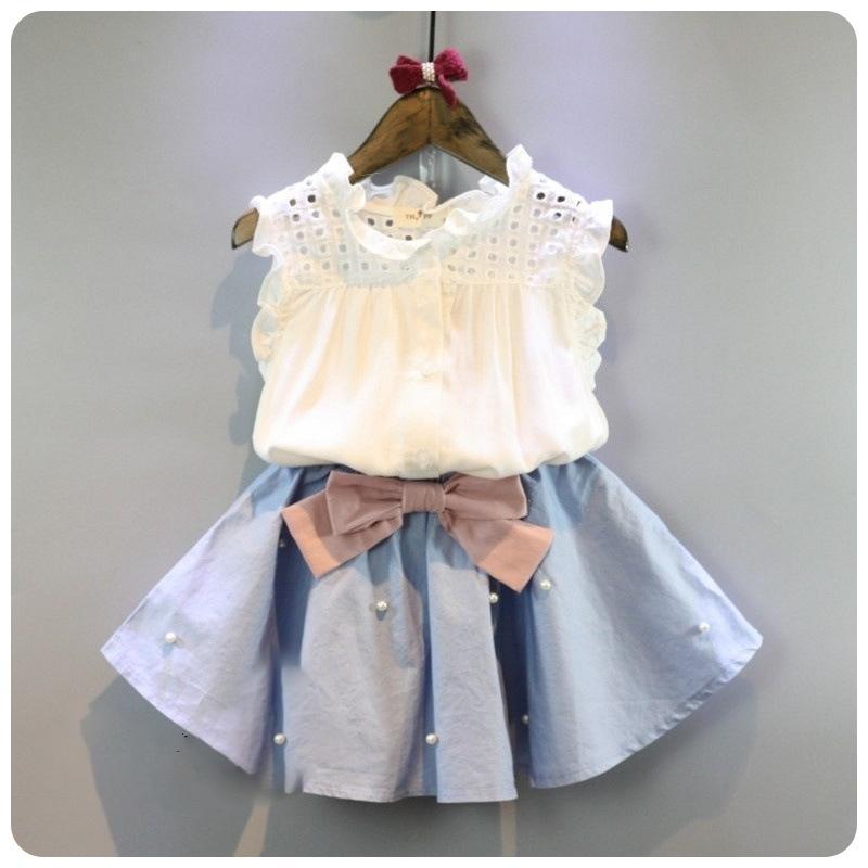 2-8 anos crianças roupas para meninas a saia do arco e lace top verão terno estilo coreano roupas crianças conjuntos de bebê set y200325