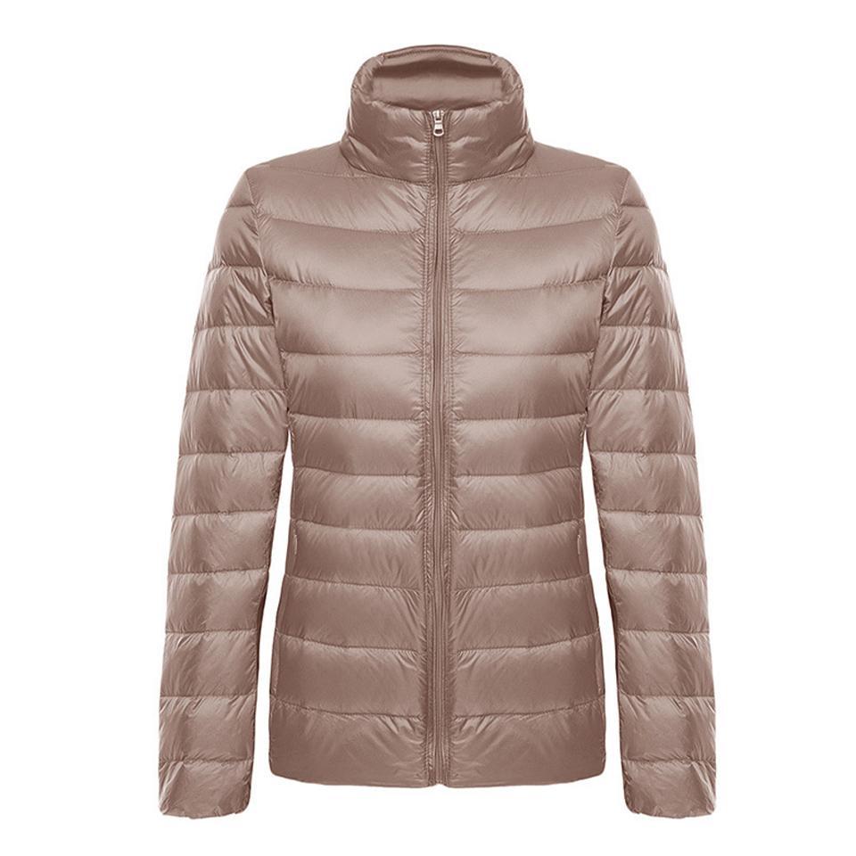 Kadın Ceket Beyaz Ördek Aşağı Yaka Uzun Kollu Fermuarlı Hafif Sıcak Bayanlar Üst Moda Rahat Uygun Depolama