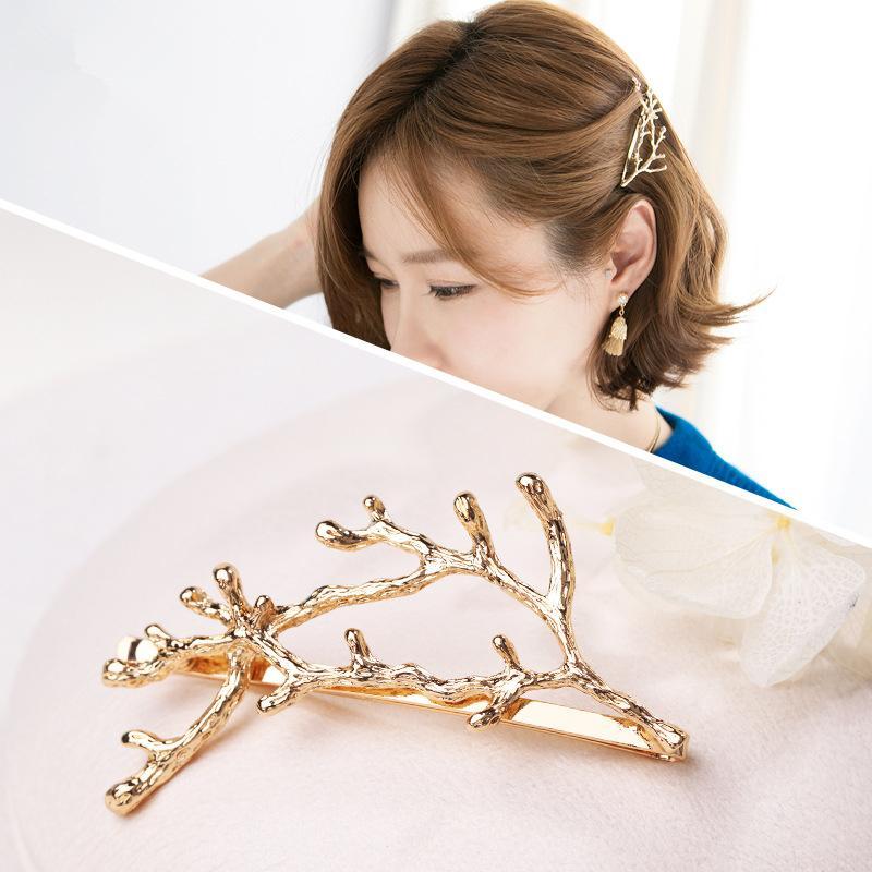 Elegance femmes Barrettes épingles à cheveux d'or ramure argent brindille cheveux clip Pin Accessoires Filles Porte-métal en alliage hairgrips couvre-chef