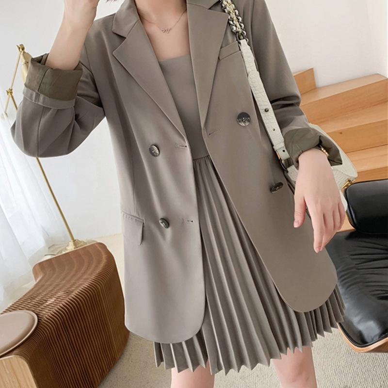 High quality women's suits large size XL-5XL autumn new loose double-breasted blazer Women's casual pleated dress suit 201009