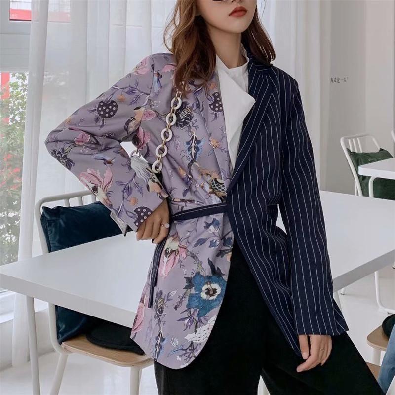 Bella Felsefe Wonder 2020 Bahar Vintage Çizgili Patchwork Blazers Coat Çentikli Yaka Uzun Kollu ceket Kabanlar yazdır