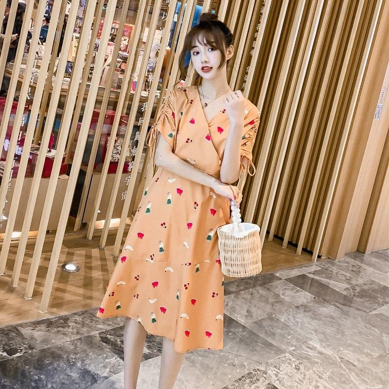 0806# Maternity Dress Summer fruit Printing Chiffon Short Sleeve Loose Stylish Dress for Pregnant Women Mom wCxJ#