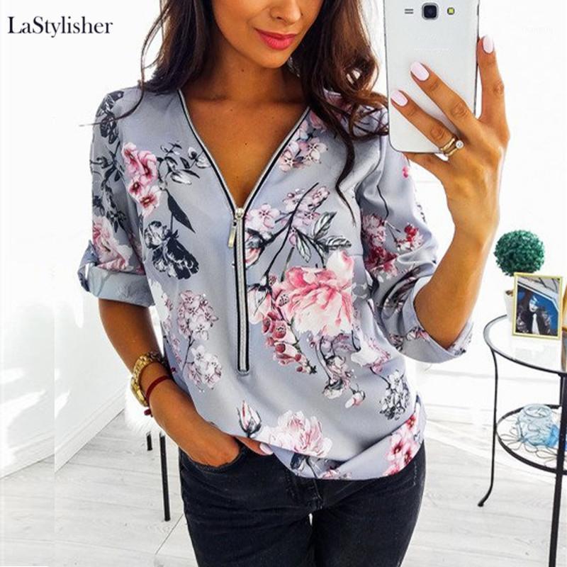 Женская на молнии длинные рукава женские вершины и блузки сексуальные V-шеи Цветочные печать женская блузка женские женские вскользь вершины рубашки плюс размер 5xL1