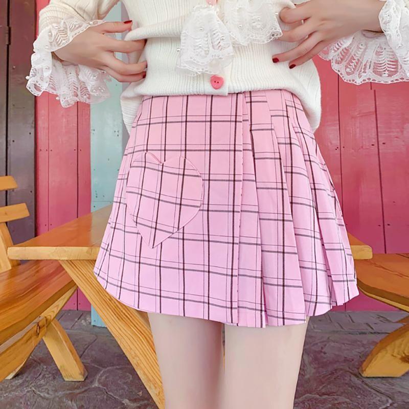 2020 Outono novo estilo coreano doce mulheres saia amor xadrez plissado saia feminina vintage mini saias curtas mujer
