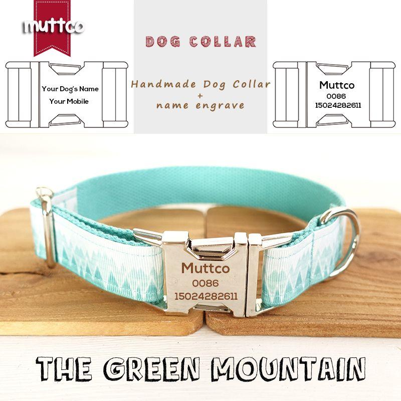 MutTCO Coller Coller Collier Collier de style frais Collier gravé Nom de l'animal de compagnie The Green Mountain Print Chien Collier 5 tailles UDC015 201030