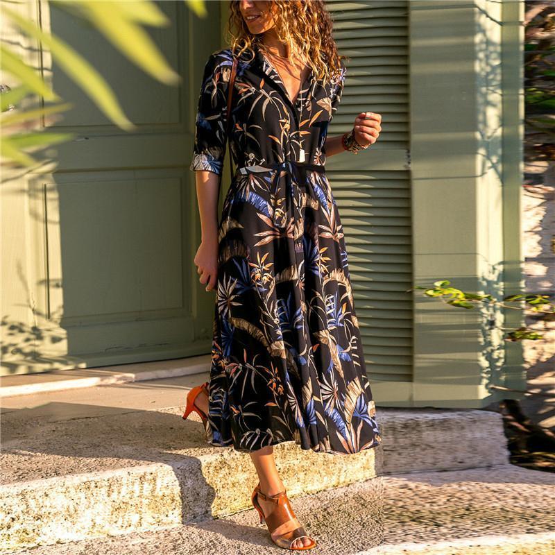 2020 лето длинное платье Женщины Цветочные печати Boho платье с длинным рукавом Turn Down Воротник рубашки платья женские повседневные платья Vestidos
