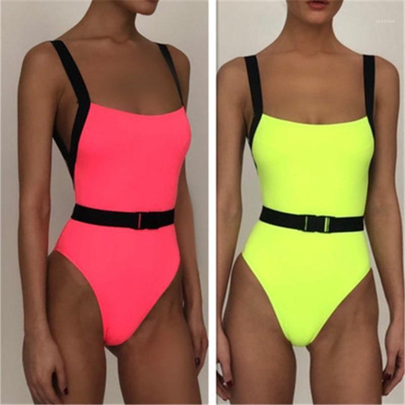 Women One-piece Swimsuit Fashion Trend Sexy Open Back Sling Swimwear Summer Female Fluorescent Color Beach Swimming Pool Swimsuit