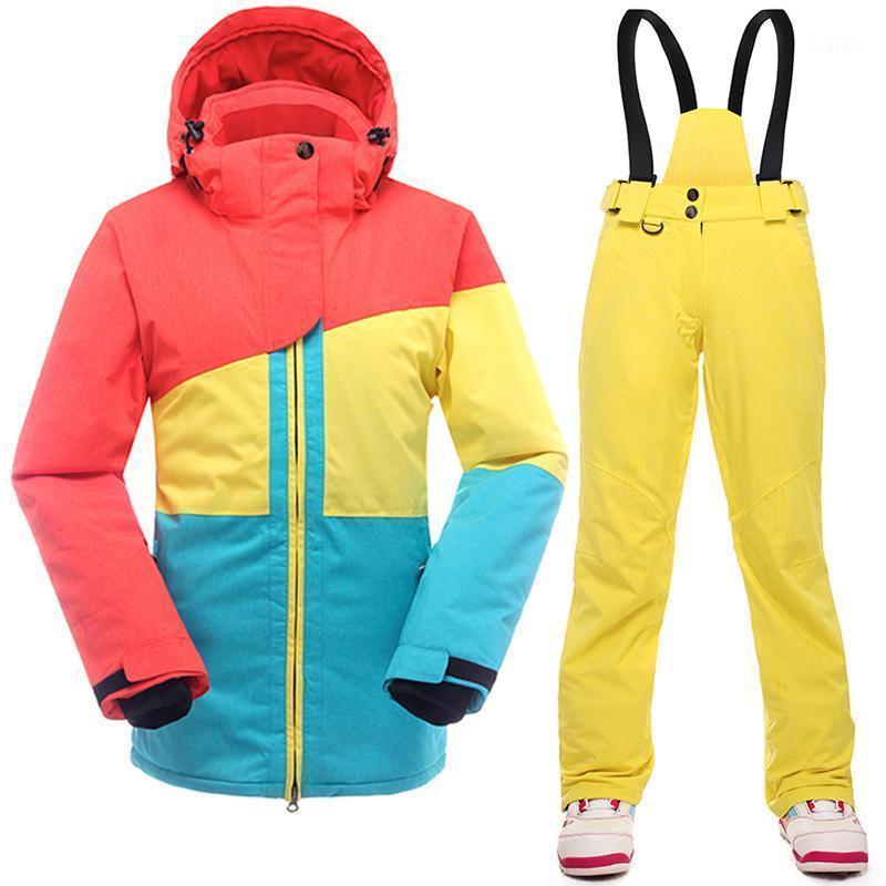Terno de esqui senhoras, espessamento, impermeável, impermeável, jaqueta de esqui, jaqueta de snowboard e calça senhoras saenshing 2020 frete grátis1