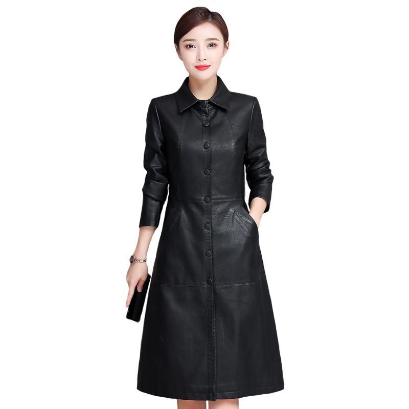 Длинная кожаная куртка Faux женщин кожаные пальто осень зима Мода PU Шинель Длинные однобортный черный пиджак