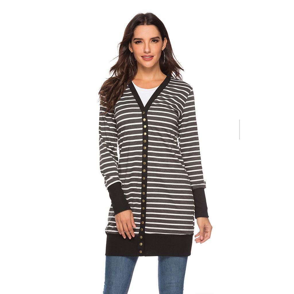 2019 listrado casaco cardigan quente europa américa grande tamanho senhoras moda longo botão listrado casaco de primavera verão mulher longa