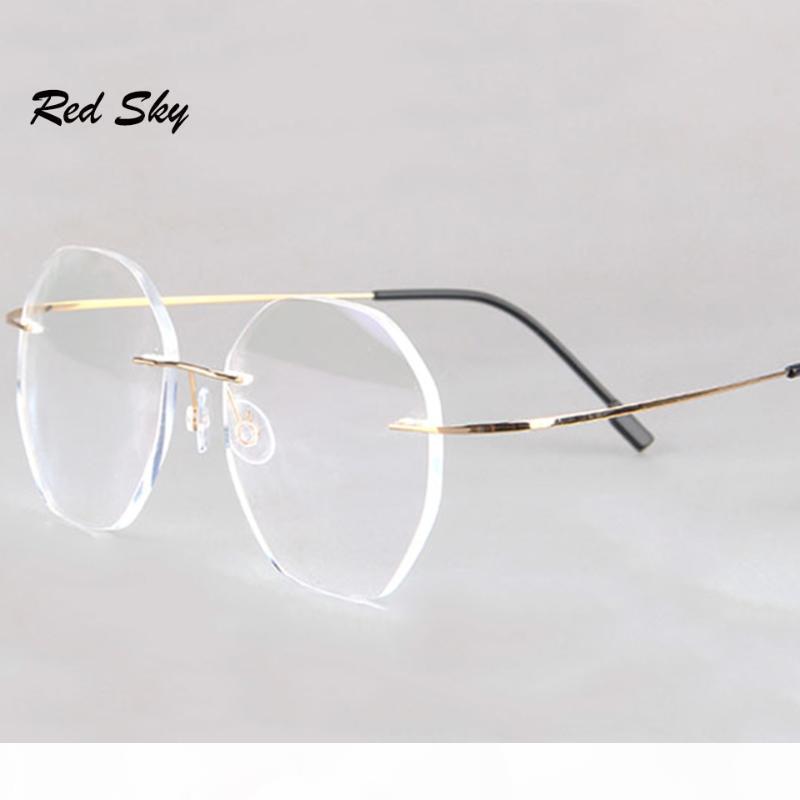 Anti-Blue Rimless Lesebrille Männer Frauen Runde rahmenlose Vergrößerung Brillen Verordnung Myopie Presbyopia Glas + 1,50 + 2.00