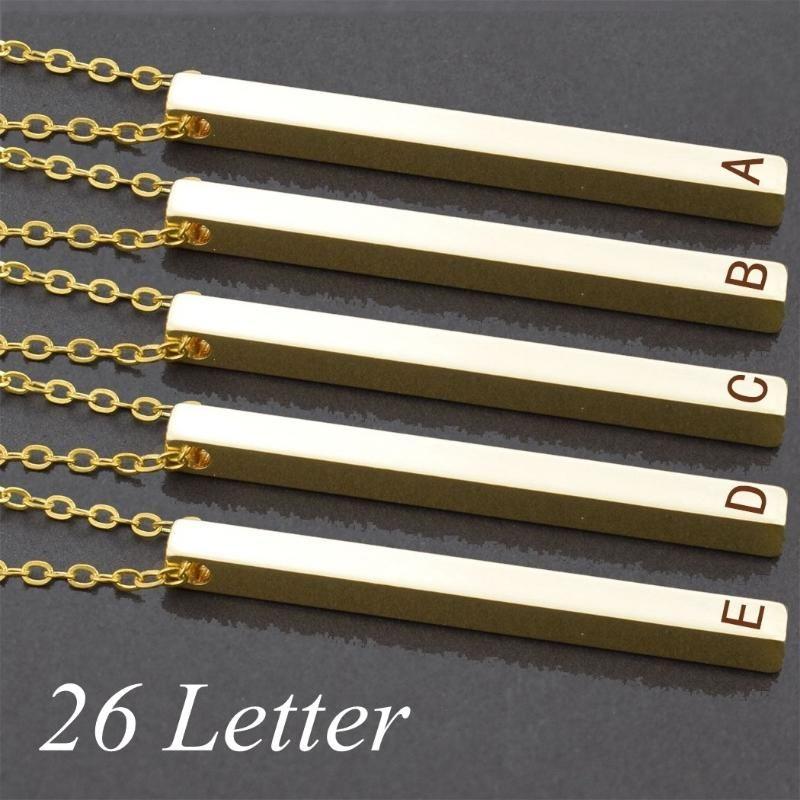 26 letras do alfabeto de colar colar pingente de ouro Cor Long Bar Mulheres Homens de moda do casamento