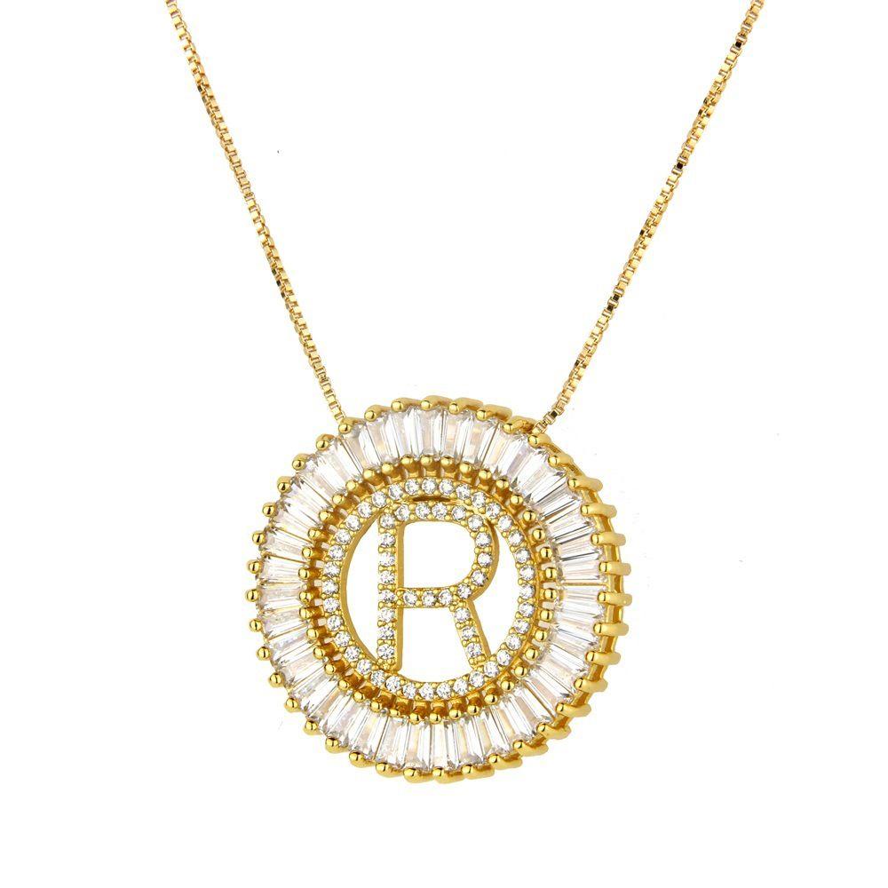 Женщины 26 Буквы ожерелья Простого Мемориальное ожерелье мужского ожерелье покрытие золото Круглого Циркон Английской Подвеска Медь