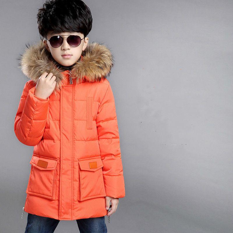 Трансграничная торговля Дети перо Одежда Зимняя куртка Мальчик в Лонг-секции пальто Новый корейский Толстые