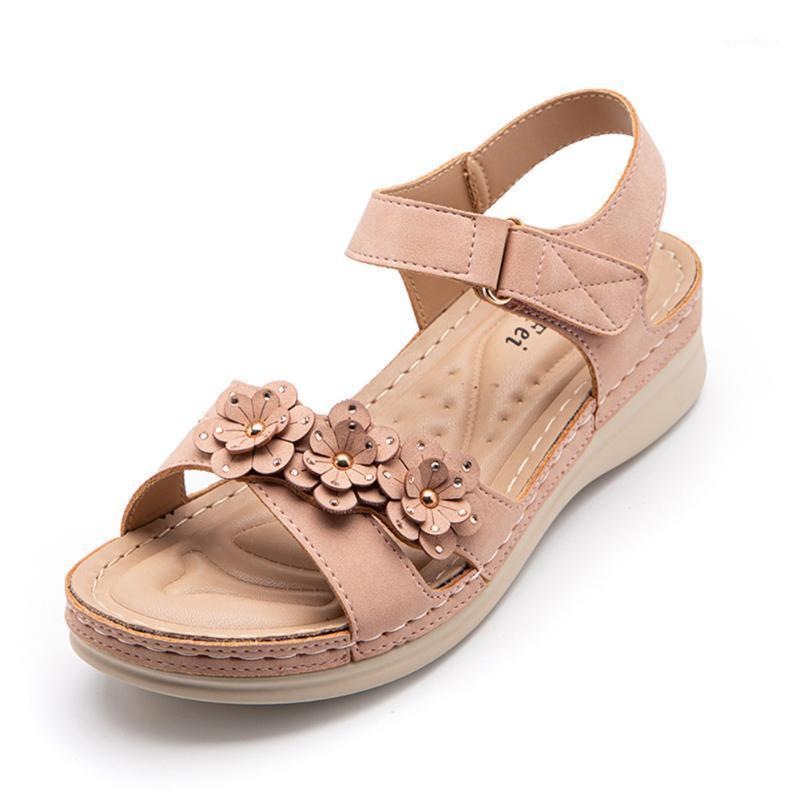 New Women Summer Sandals Sweet Floral Wedged Sandals Large Size Comfortable PU Leather Drop Shipping1