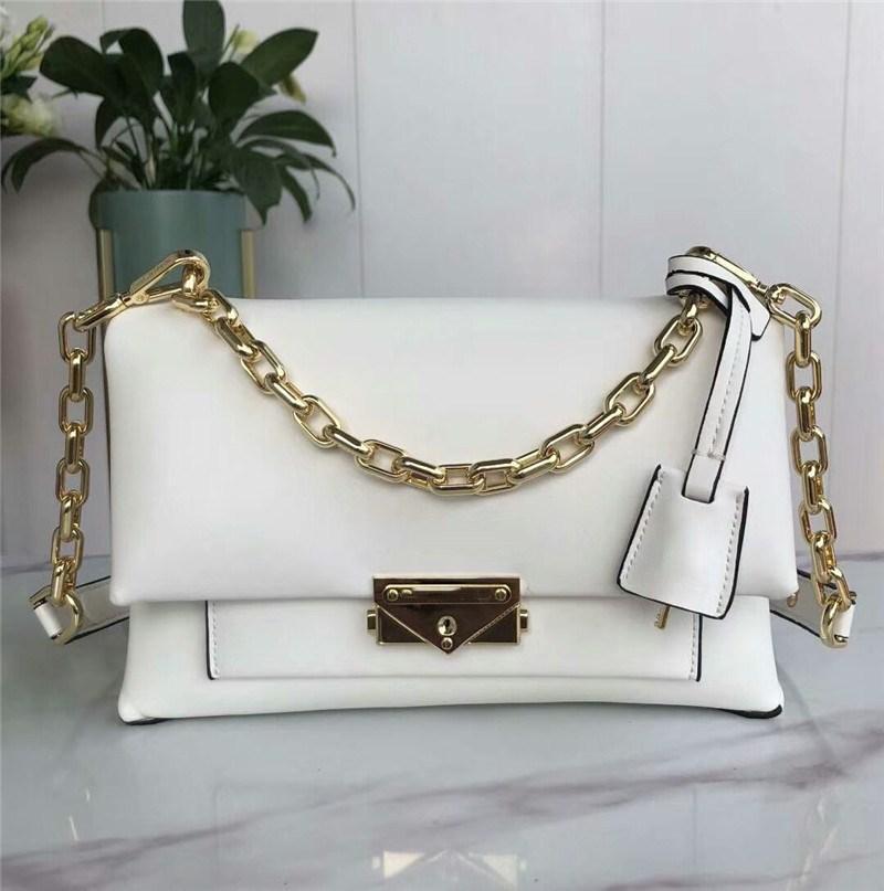 Bianco Plain Classical per Borse Single Bags Soft Leaher Loreoher con catene di metallo Designer Designer Donne Donne Donne Donne Donne Donners Designer NBMT