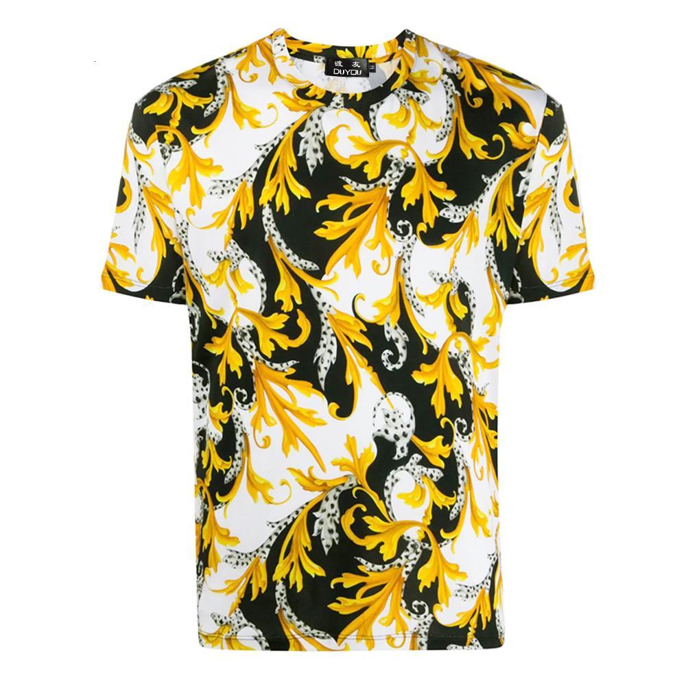 Erkek Gömlek Giyim Moda Pamuk T-shirt Beyaz Altın Ile Barocco Baskı Streç Tshirt Adam LSGQ
