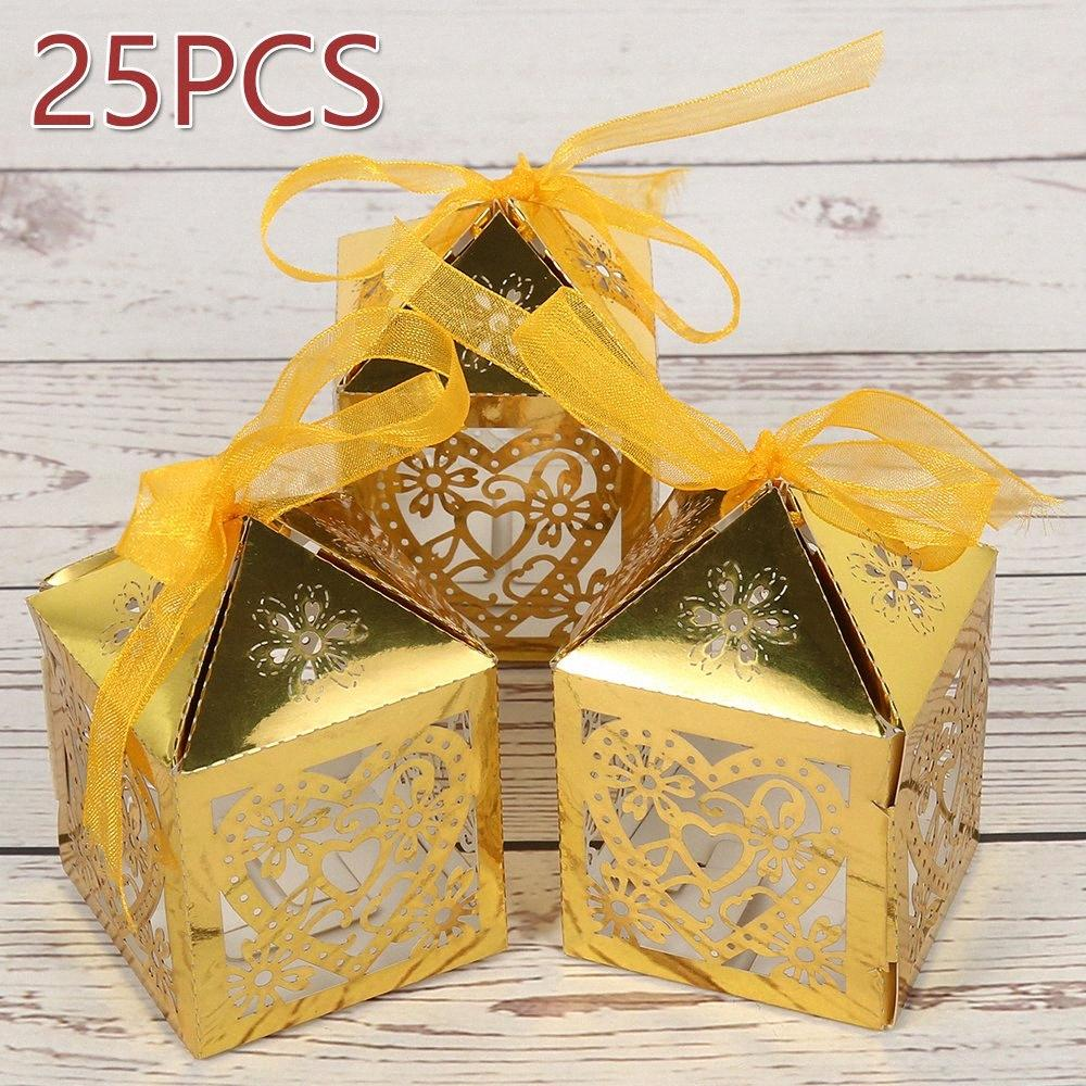 25pcs / set corazón del amor del corte del laser hueco del carro favorece los regalos cajas del caramelo con las fuentes del banquete de boda de la ducha bebé de la cinta Q3dU #