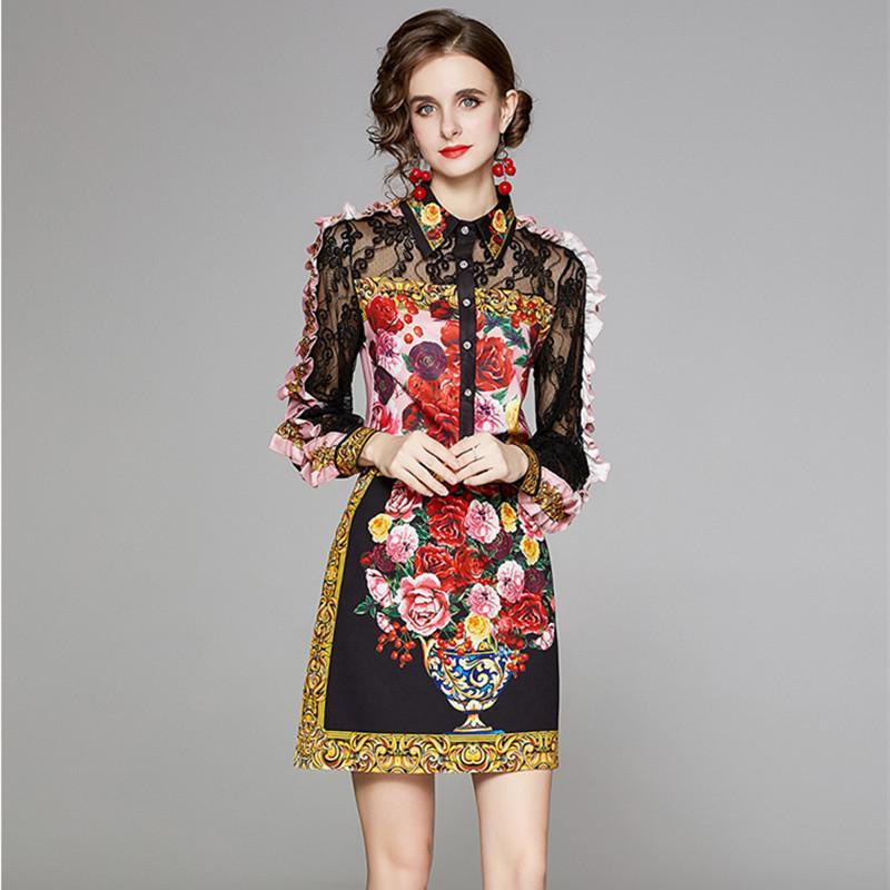 활주로 가을 꽃 스커트 2 두 조각 세트 여성의 세련된 레이스 패치 워크 러프 긴 소매 셔츠 탑 및 짧은 스커트 정장