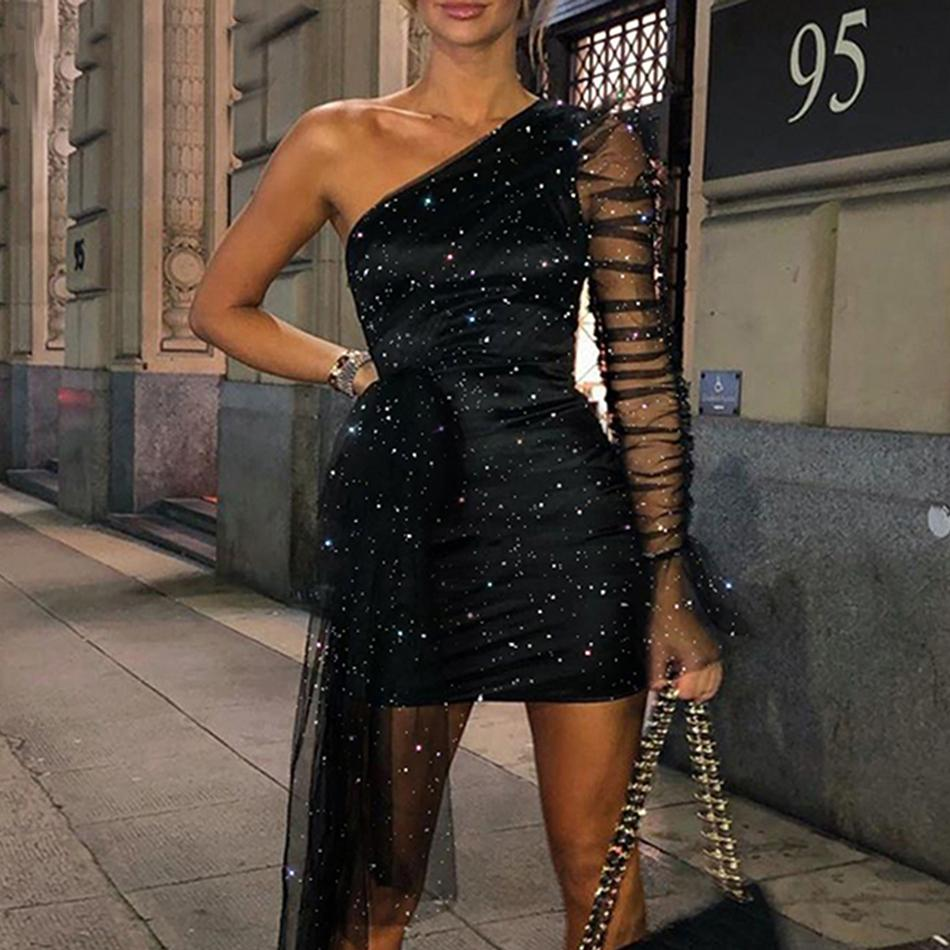 Новый Sexy 2020 Глиттер Женщина Перспектива на плече с длинным рукавом мини-платье с длинным рукавом G49G
