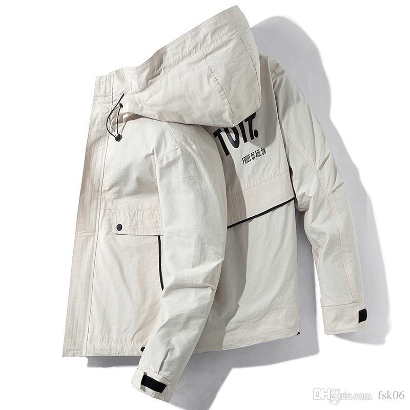 Erkekler için Katı Erkek Kapşonlu Ceket Kış Casual Bombacı Ceketler Harf Ve Big Cep Mens Kapüşonlular Ceket chaqueta Hombre yazdır