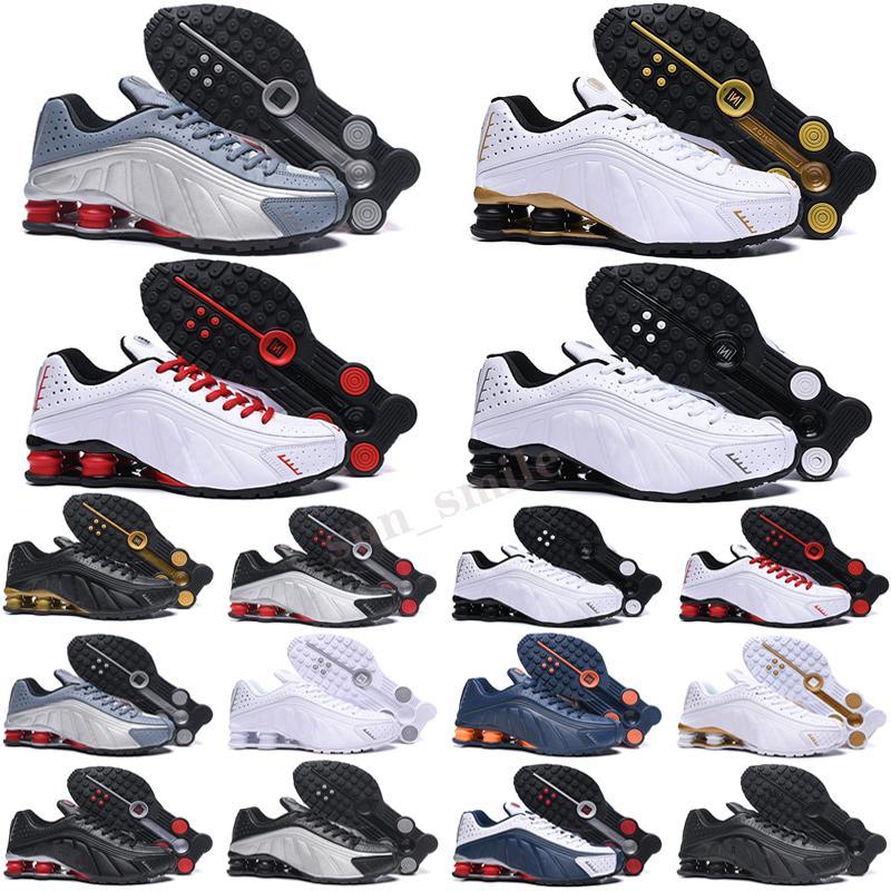 Shox R4 Top Quality USA Sfida Red R4 Scarpe Chaussures Metallic Silver Silver Gold Scarpe da corsa Tripla Black Bianco Kanye Mens Trainer Zapatos Sneakers