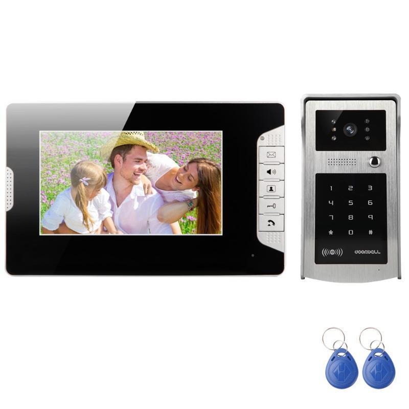 Nueva 7 pulgadas Sistema de portero automático de vídeo visual del timbre del intercomunicador de alta definición tarjeta de identificación del monitor y la contraseña de desbloqueo de la cámara a prueba de agua
