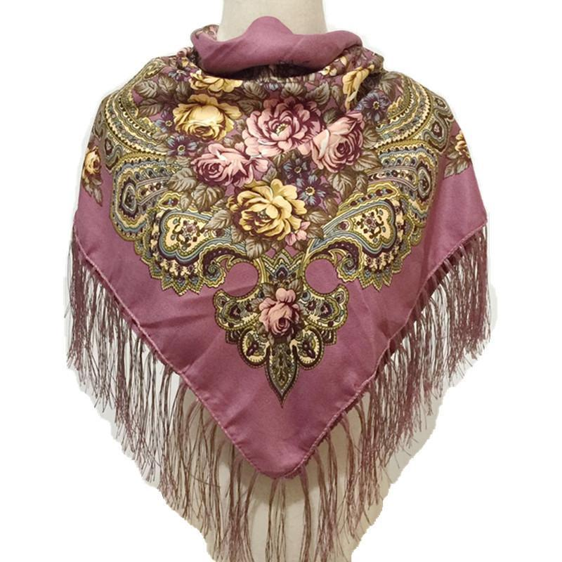 Russian Big Size Square Scarf For Women National Floral Print Head Scarves Ladies Fringed Winter Scarf Blanket Cotton Shawl