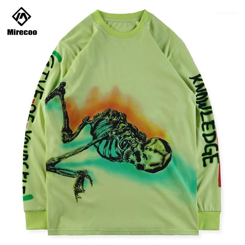 Green Stagione Felpe con cappuccio in cotone Graffiti scheletro stampa manica lunga con cappuccio uomo Hip-hop felpa Harajuku Streetwear pullover Top1