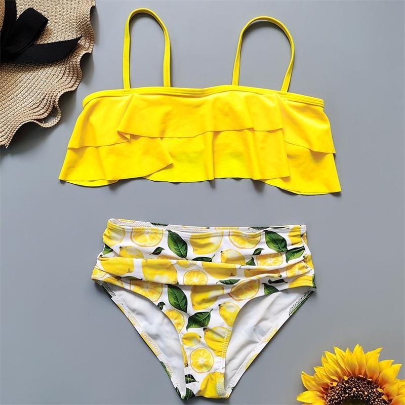 Zitronen-Druck-Badeanzug Kinder 7-14 Jahre Teenager-Bikini-Set Rüschen 2-Stück Kinder-Badebekleidung Mädchen Badeanzug Beachwear