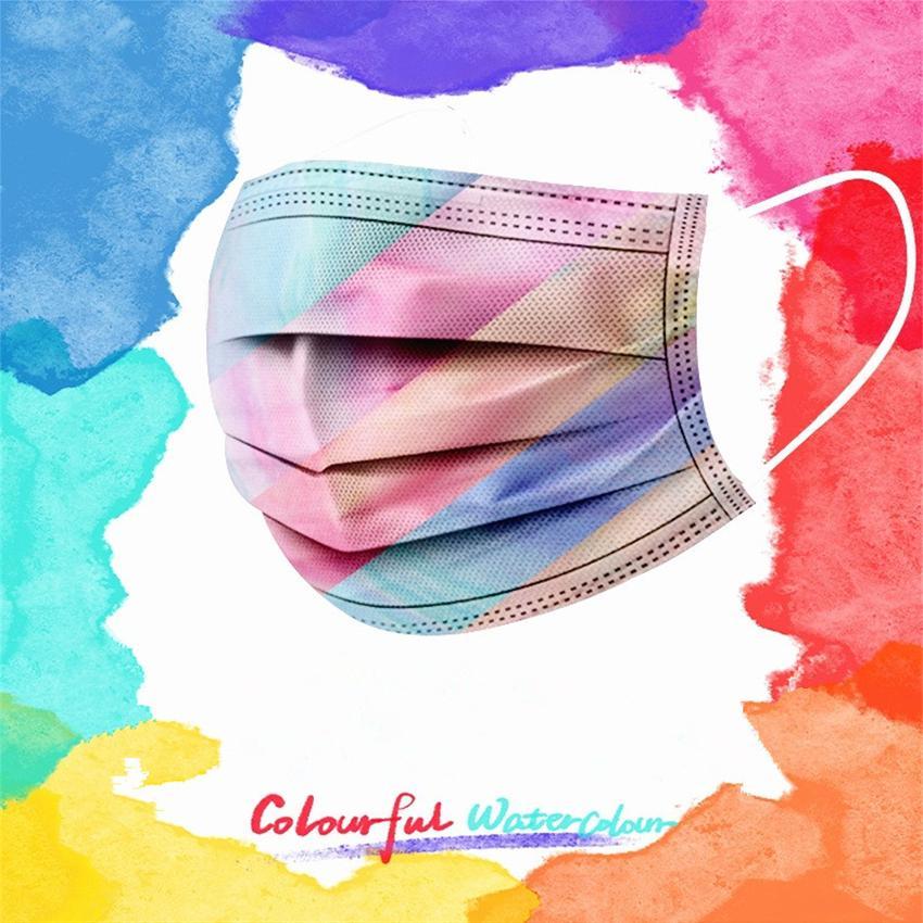 Cara de nosotros Colorida Stock Mascarilla de camuflaje adulto desechable desechable de tres capas de tres capas máscara rápida envío xqtsl