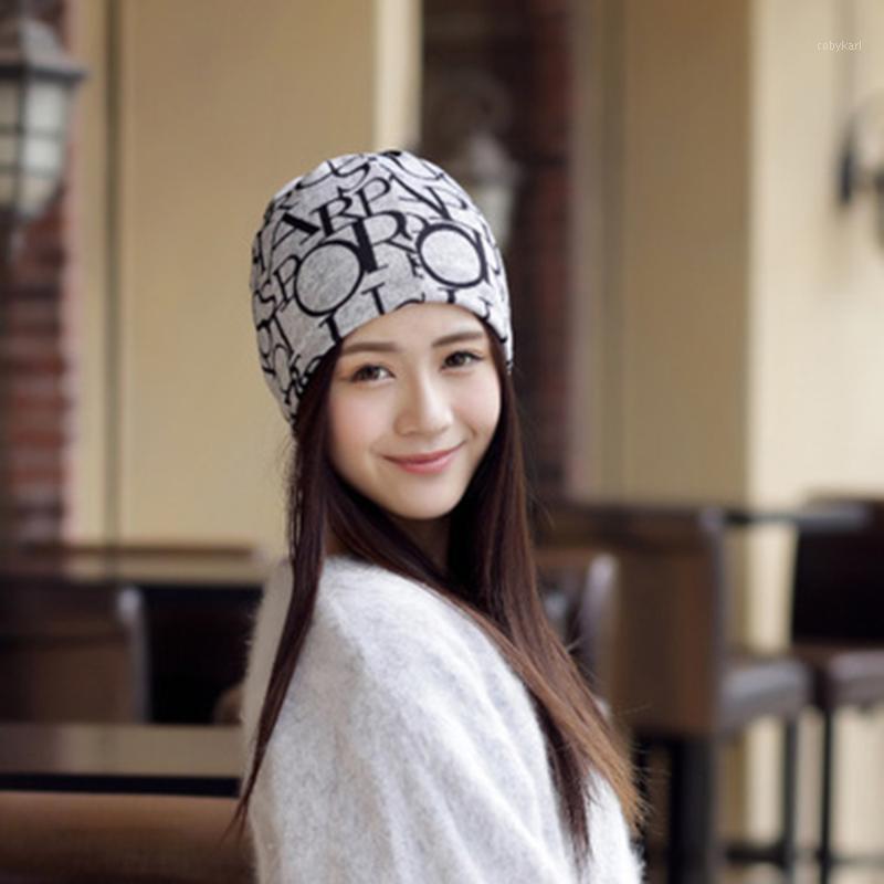 1pc moda donna donna cappello cappello con collo di beanie stampato stampato casual cappello di cofano femminile new1