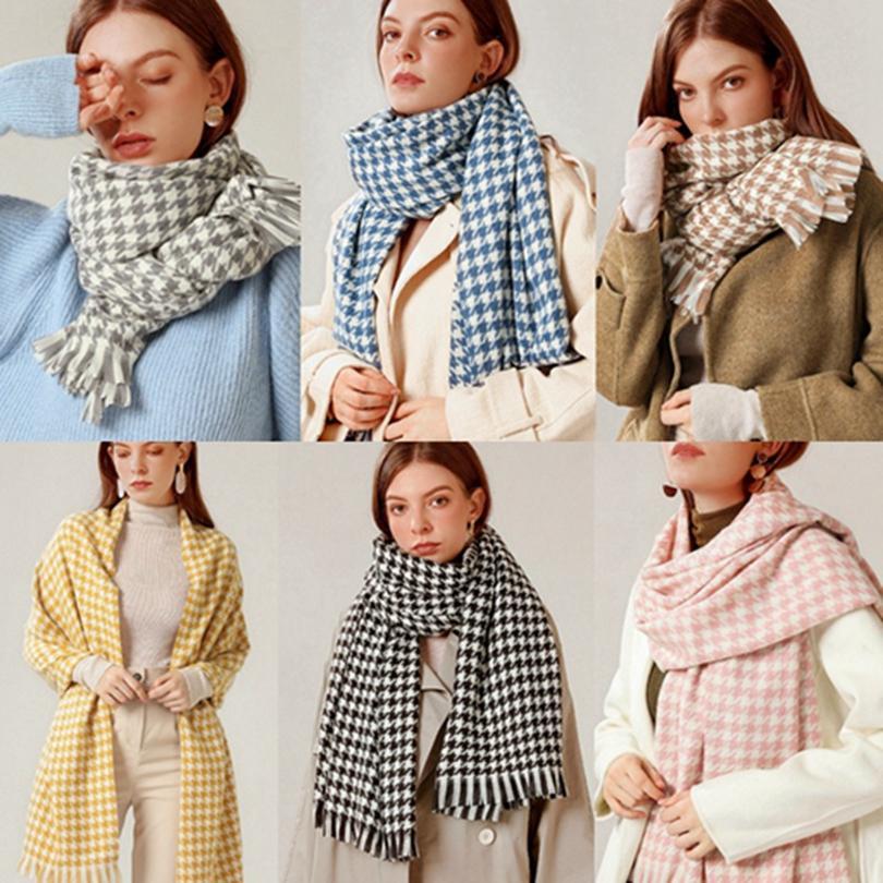 Fashion Plaid Scarves Shawl Winter Classic Tassel Houndstooth Scarf Warm Soft Large Blanket Wrap Shawl Scarves HHA1636