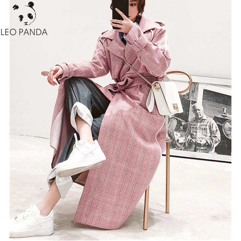 Pink plaid long windbreaker female over the knee coat 2020 spring new belt sweet version of the wild loose leisure