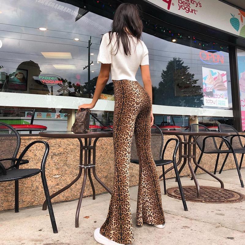 Frauenhose Capris Herbst Winter Frauen Flare Sexy Leoparden-Druck Hohe Taille Slim Hose Legging
