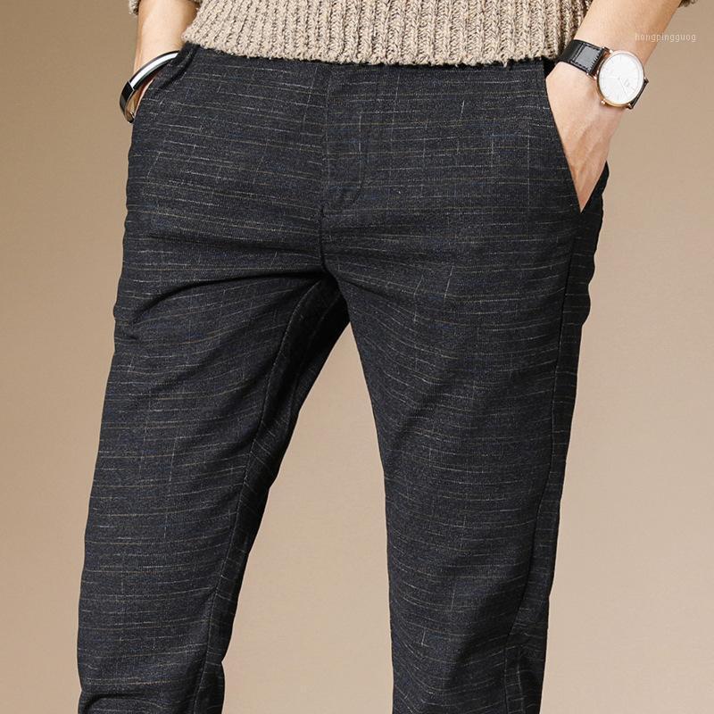 2020 hommes pantalons de crayon décontracté hommes pantalons de pantalons classiques moyens de plein poids