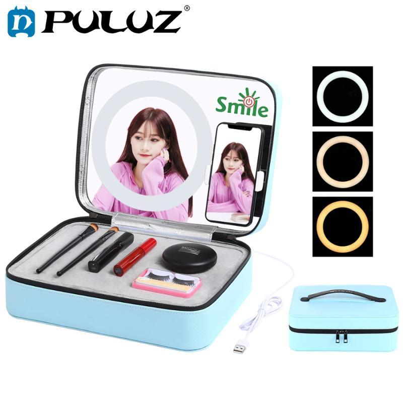 PULUZ Live Broadcast LED Ring Light Makeup Mirror Cosmetic Storage Box with Phone Clamp USB Rechargeable Makeup Organizer Case