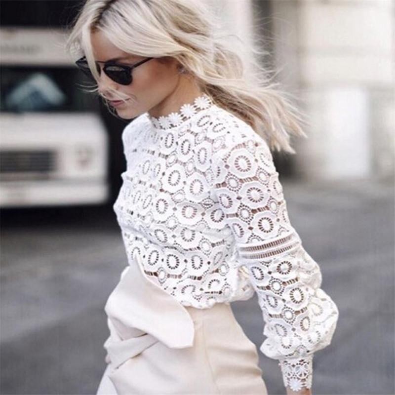 Dantel Bluz Uzun Kollu Bayan Casual Beyaz Bluz Gömlek İlkbahar Yaz Seksi Hollow Out Şık Tops Bluz blusas 201021 Soğuk