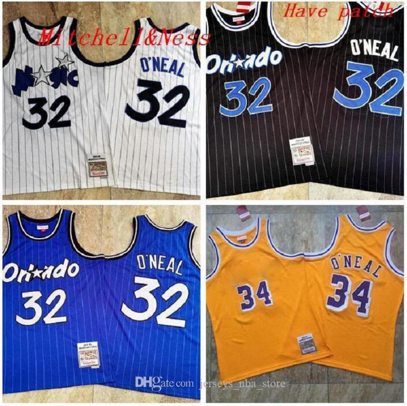 Hommes 32 Shaqo'neill Mitchellness 1993-1994-95 Jaune Blanc Blanc Jersey de basketball S-2XL