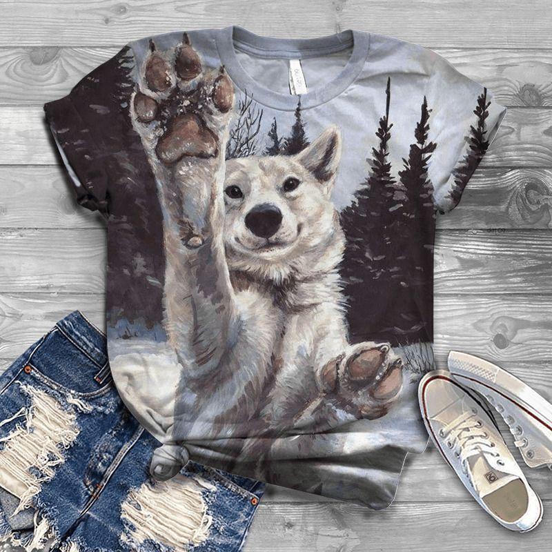 2020 Nueva venta caliente de manga corta Summer Summer 3DT SHITS Lobo cabeza Impresión de manga corta Pareja de manga corta Camiseta de animal Top Streetwear x1217