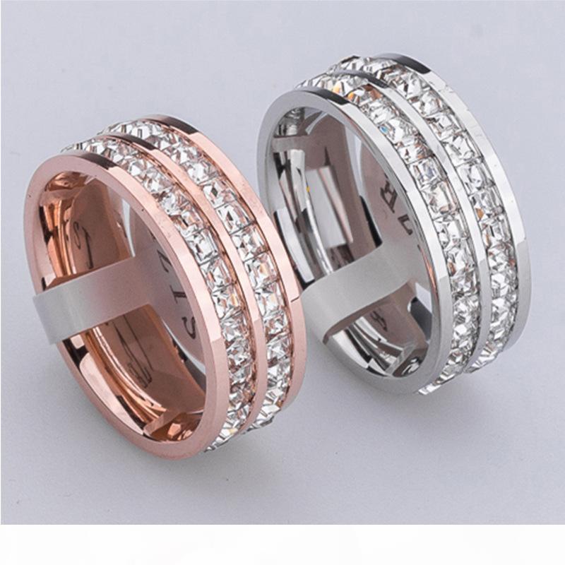 Rose Gold Einzel und zweireihige kleine quadratische Diamant-Ringe Edelstahl 18k Gold Silber Hochzeit Bandringe Einsatz Diamanten Modeschmuck