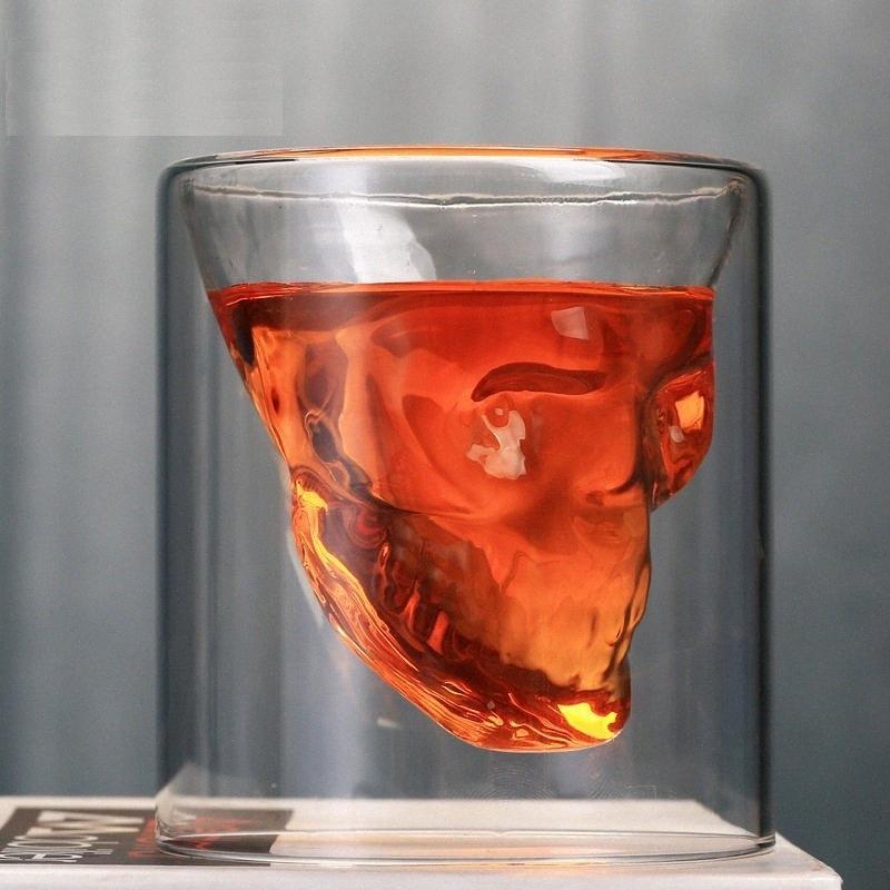1pc taza de cristal transparente 75ml cráneo taza de cerveza creativa del vino rojo en barra de consumición del whisky de la noche del club del partido Decoración kE8V #