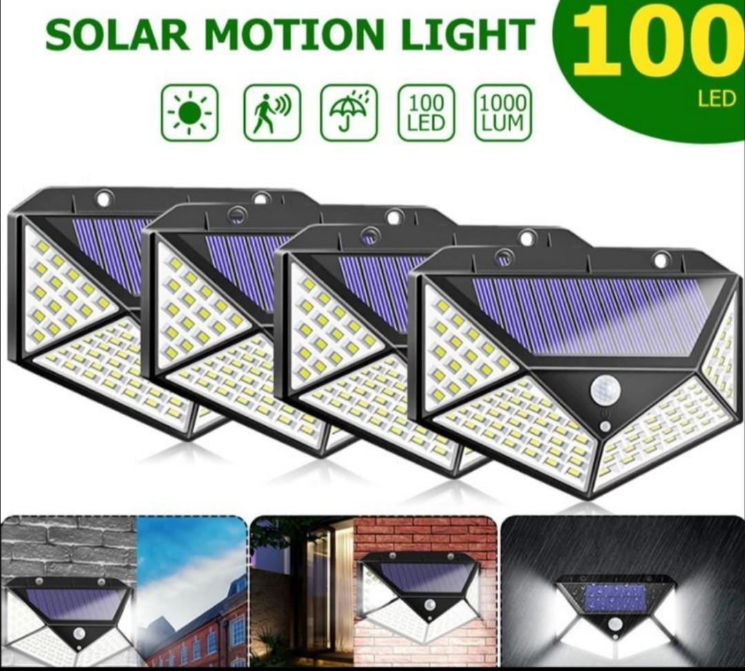 3mode 100 LED ao ar livre solar luz de luz movimento sem fio Sensor de segurança solar luz para parede cerca decoração pip água impermeável energia lâmpada