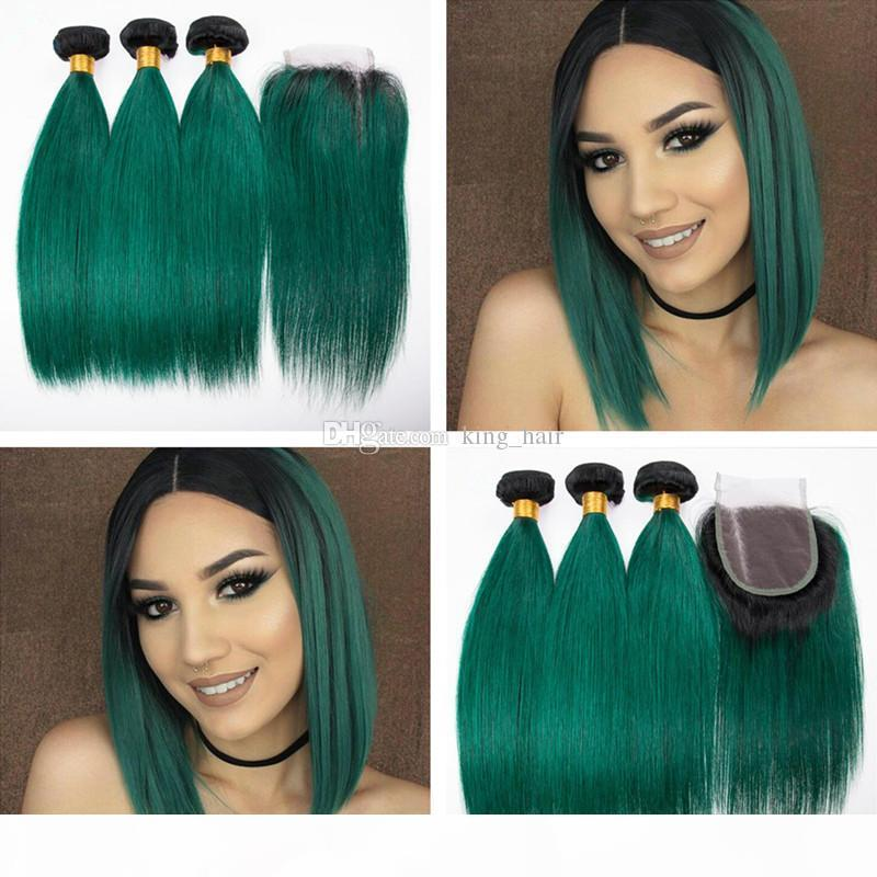 Темные корни 1b зеленые корневые пакеты волос человека с кружевной закрытием темно-зеленые прямые волосы плетения с верхним закрытием свободная средняя часть