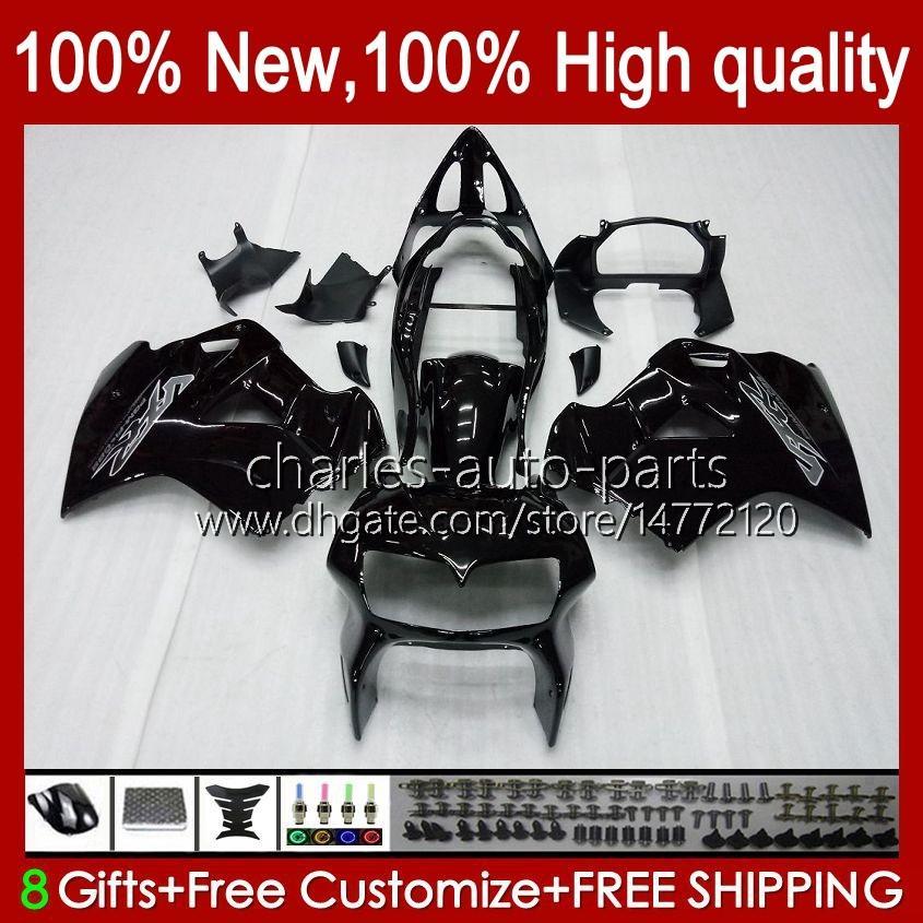 Body pour Honda Interceptor VFR800RR 1998 1999 2000 2001 Bodywork 99HC.6 Noir Glossy VFR800R VFR 800RR 800 RR VFR800 98 99 00 01 Catériel